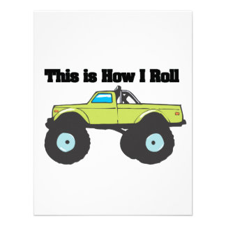 How I Roll Monster Truck Personalized Invitation