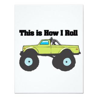 How I Roll (Monster Truck) Personalized Invitation