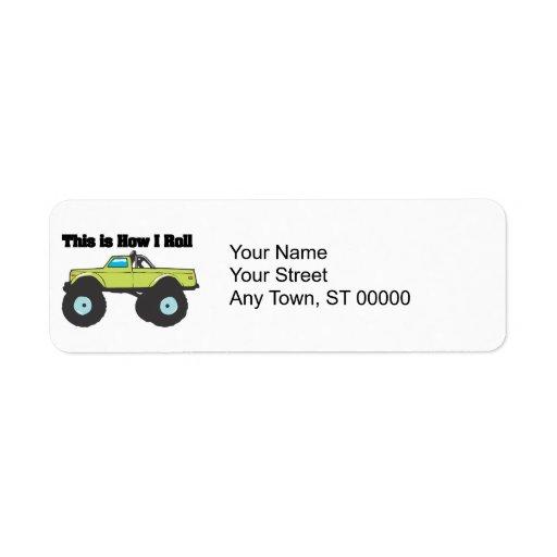 How I Roll (Monster Truck) Custom Return Address Label