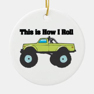 How I Roll Monster Truck Christmas Ornament