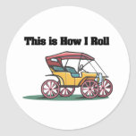 How I Roll (Old-fashioned Buggy/Car) Classic Round Sticker