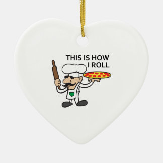 HOW I ROLL Double-Sided HEART CERAMIC CHRISTMAS ORNAMENT