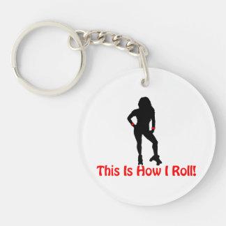 How I Roll Roller Derby Girl Keychain
