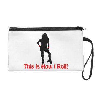 How I Roll Roller Derby Girl Wristlet Purse