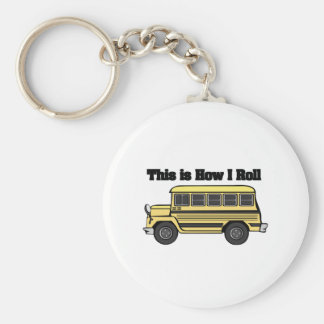 How I Roll (School Bus) Basic Round Button Keychain