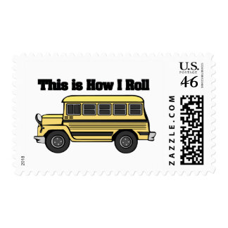 How I Roll School Bus Postage Stamp