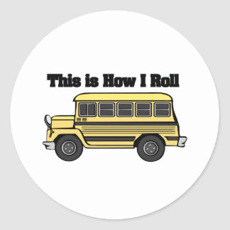 How I Roll (School Bus) Round Stickers
