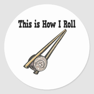 How I Roll Sushi Rice Roll Round Stickers
