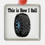 How I Roll Tire Square Metal Christmas Ornament