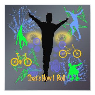 "How I Roll (Tween Boys) Invitation 5.25"" Square Invitation Card"