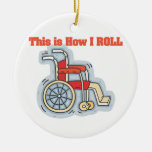 How I Roll (Wheelchair) Double-Sided Ceramic Round Christmas Ornament
