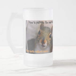 How is politics like squirrels?, The... Frosted Glass Beer Mug