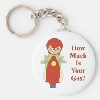 how much is your gas. basic round button keychain