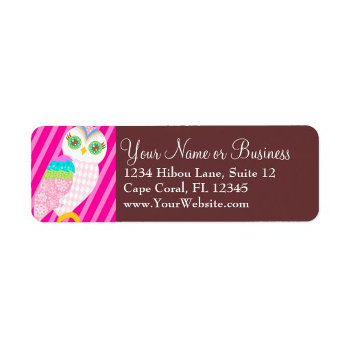 How Now Baby Pink Owl? Return Address Label