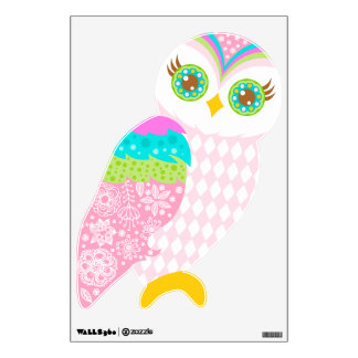 How Now Baby Pink Owl Wall Sticker