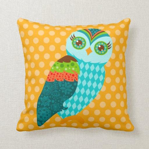 How Now Blue Owl - Orange & Green - Throw Pillow Zazzle