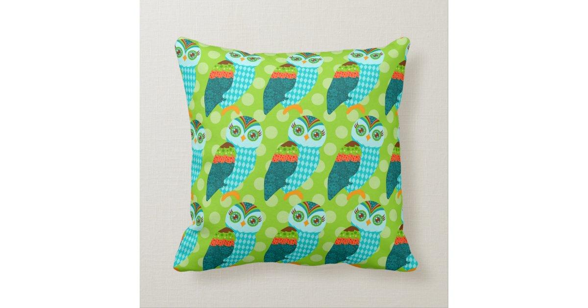 Blue Green Orange Throw Pillows : How Now Blue Owl - Orange & Green - Throw Pillow Zazzle