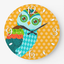 How Now Blue Owl Wall Clock