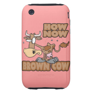 how now brown cow funny animal cartoon tough iPhone 3 case