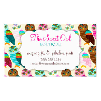 How Now Little Owl? Coupon Business Card Template