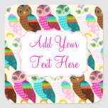 How Now Little Owl? Square Stickers