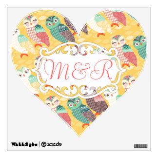 How Now Little Owls? Custom Heart Wall Cling Wall Sticker