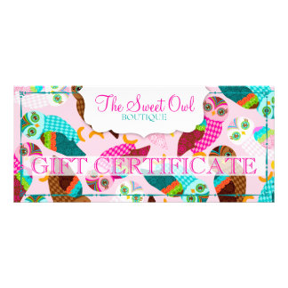 How Now Little Owls? Gift Certificate Rack Card Template