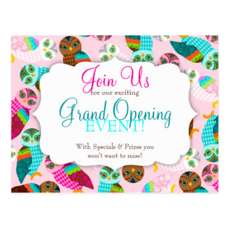 How Now Little Owls? Grand Opening Postcard