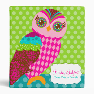 How Now Pink Owl? 3 Ring Binder