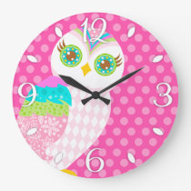 How Now White Owl Wall Clock