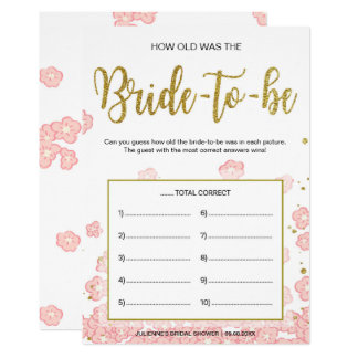 How Old Was the Bride-to-Be | Pink and Gold Card