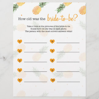 How old was the bride to be shower game pineapple