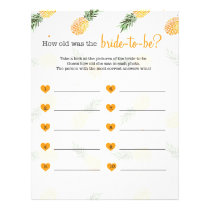 How old was the bride to be shower game pineapple letterhead