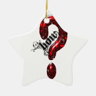How Question Mark Lizard style Double-Sided Star Ceramic Christmas Ornament