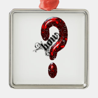 How Question Mark Lizard style Square Metal Christmas Ornament