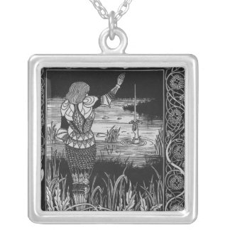 How Sir Bedivere Cast the Sword Excalibur Silver Plated Necklace