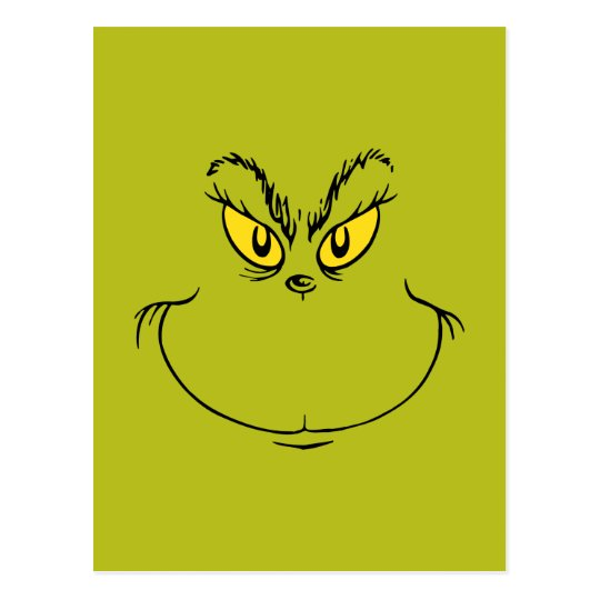 Christmas Grinch.How The Grinch Stole Christmas Face Postcard