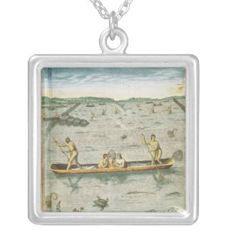 How the Indians Catch their Fish Silver Plated Necklace