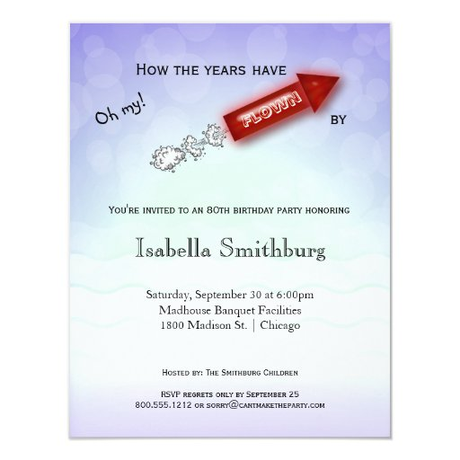 How The Years Have Flown By - Milestone Birthday 4.25x5.5 Paper Invitation Card