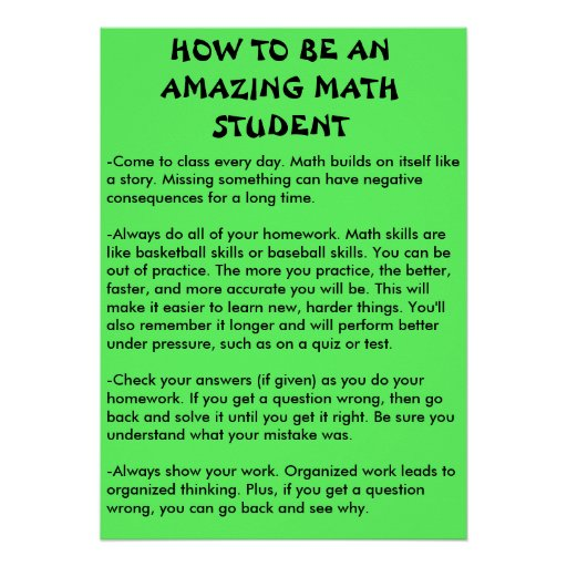 how to be an amazing math student posters