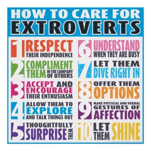 How To Care For Extroverts Poster | Zazzle