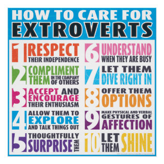 How To Care For Extroverts Posters