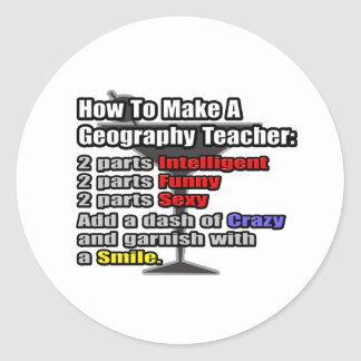 How To Make a Geography Teacher Classic Round Sticker