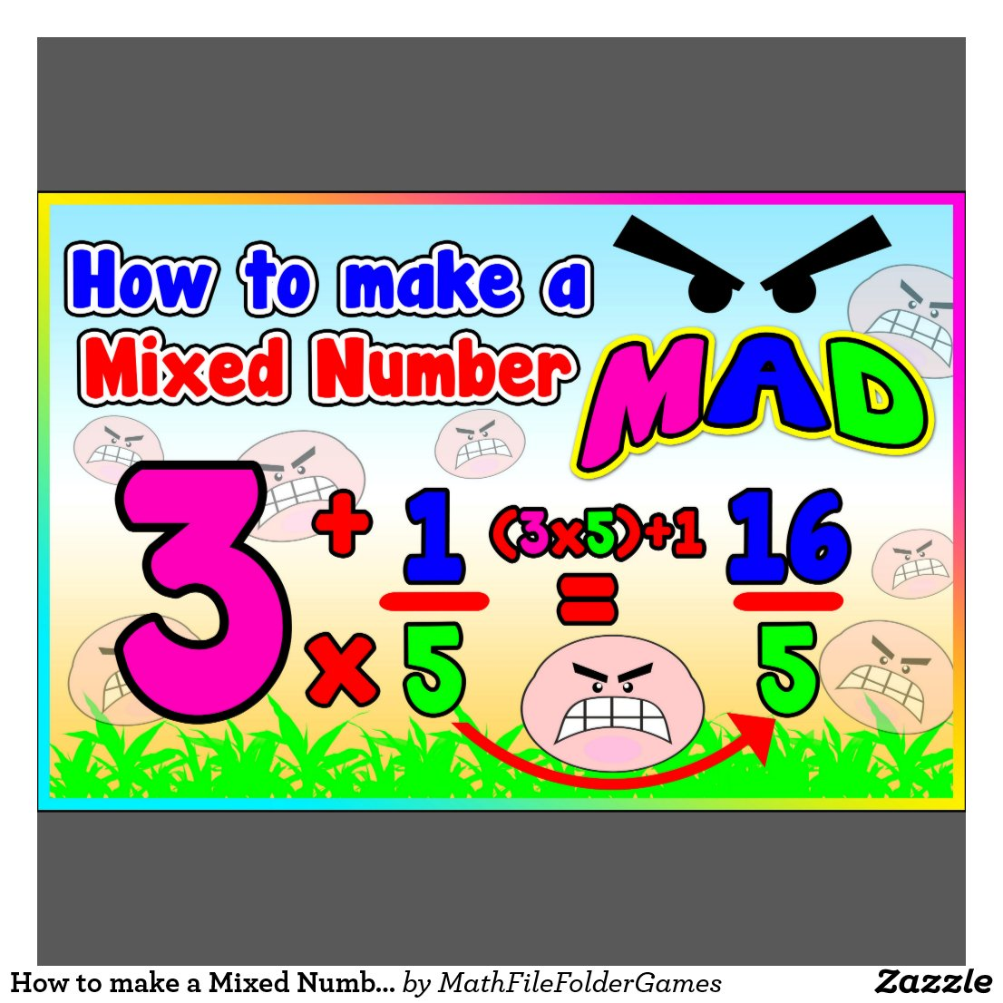 How To Make A Mixed Number Mad = Anchor Chart Poster  Zazzle