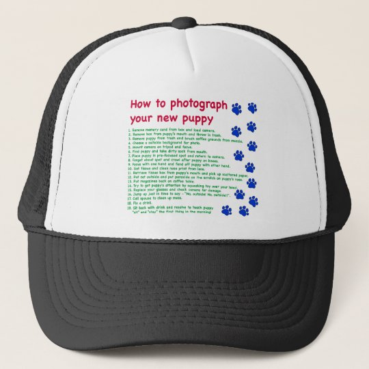 How to photograph your new puppy trucker hat