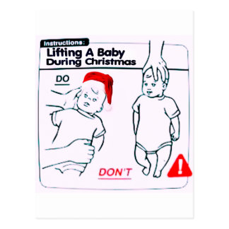 how to pick up a baby durin Christmas Postcard