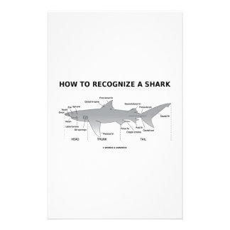 How To Recognize A Shark (Biology Humor) Stationery