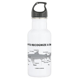 How To Recognize A Shark (Biology Humor) Water Bottle