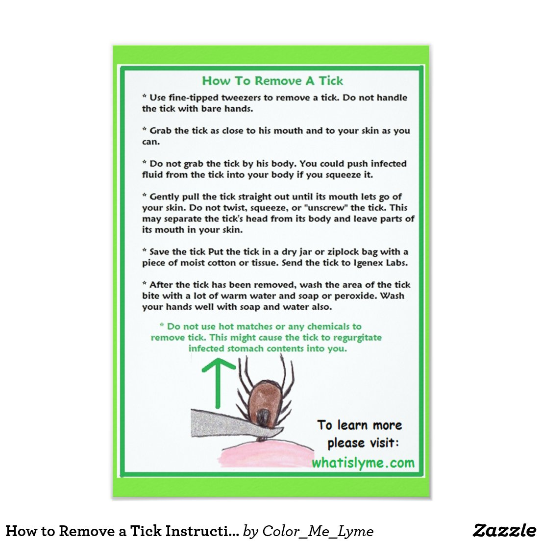 How to Remove a Tick Instructions Card for Lyme