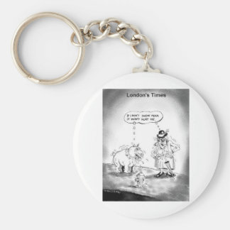 How To Scare A Big Dog Funny Cartoon Gifts & Tees Basic Round Button Keychain